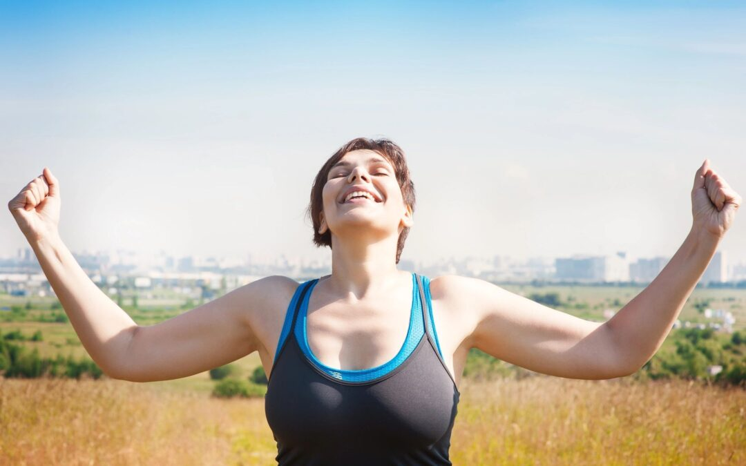 woman feeling body revive and happy